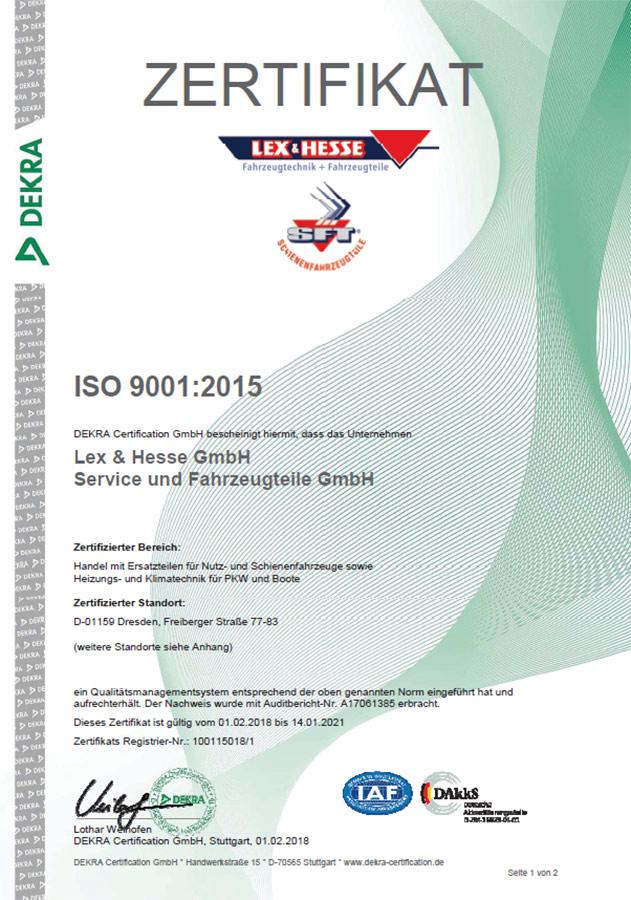 Zertifikat SFT & Lex&Hesse